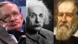 Da sinistra Hawking, Einstein e Galileo, tre grandi del pensiero scientifico.