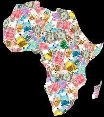 """Africa uguale soldi: così, vestito di banconote, Milano Finanza ha rappresentato il vecchio continente nero. Anche questo ripartirà su vecchie rotte terrestri """"carovaniere) .Un asse stradale in costruzione sta per collegare Città del Capo con il Cairo e Tunisi."""