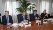Un momento della conferenza: da Sx Marco Falcone, Pasqualino Monti, Edoardo Rixi e il comandante della Capitaneria, Ammiraglio Salvatore Gravante.