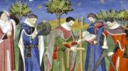 """La Scuola medica salernitana (qui un'immagine dell'epoca) la sapeva già lunga: """"Perché il sonno ti sia lieve / la tua cena sarà breve. Se gli umor serbar vuoi sani / lava spesso le tue mani. Se non hai medici appresso / farai medici a te stesso / questi tre: anima lieta / dolce requie e sobria dieta"""". Fu la prima e più importante istituzione medica d'Europa nel Medioevo (IX secolo) e come tale è considerata come l'antesignana delle moderne università.  Queste poi si moltiplicarono a partire dal 1400 attorno allo studio della teologia e del Diritto romano."""