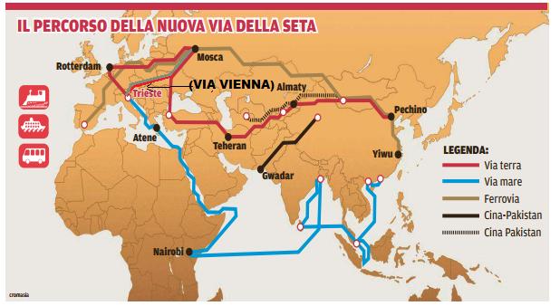 """La via della seta per terra e per mare. Questa sommaria immagine non guarda lontano: Trieste e Atene vi appaiono come protagoniste del passaggio dal Mediterraneo. Xi Jinping è a adesso a Palermo per coinvolgere la Sicilia, ma """"è necessario"""" il ponte sullo Stretto."""