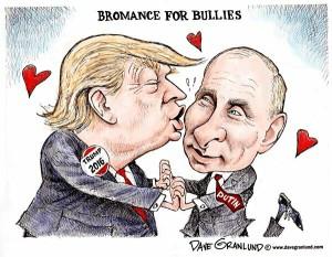 Con Putin è solo amore. Del resto Trump ha aperto il dialogo anche con la Cina e con la Corea del Nord. Nel complesso, un opera provvidenziale per il mondo. In Siria il suo gioco è stato più aperto. Fine al doppio gioco di Obama: sta consentendo la normalizzazione (Assad).