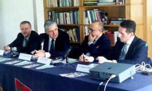 La riunione al Maeci. Da sx Antonello De Riu, Vincenzo De Luca, Nino Carlino, Sandro Pappalardo.