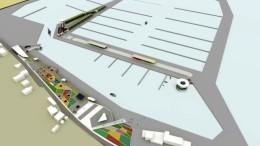 Render del porto di Sant'Agata a volo d'uccello da sud-est. Questa la versione definitiva modificata e certamente migliorata con nuovi moli. Alla diga di sotto flutto (lato interno) possono accostarsi  piccole navi cui potranno accedere mezzi e passeggeri.