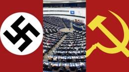 Equiparati - lo ha deliberato Bruxelles - fascismo e communismo. Adesso neppure i simboli comunisti possono essere usati in pubblico. L'illustrazione che parla da sola è stata da noi trovata su da TPP News rivista online.