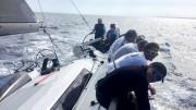 Immagine da bordo di Primavista Lauria di bolina nelle acque di Malta(regata costiera di preparazione alla Rolex Middle sea race)