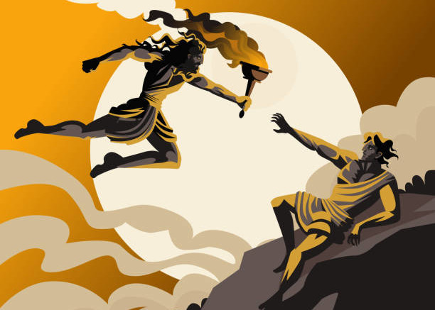 Prometeo consegna il fuoco all'uomo. Secondo l'articolata leggenda pagana, era stato Prometeo stesso a plasmare materialmente l'uomo con terra e fango. Aveva avuto, quindi un ruolo nel formare l'indole umana...