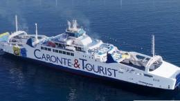 Elio , ammiraglia di Caronte Tourist . E' una nave 'ecologica' che utilizza il combustibile non inquinante Gnl  - gas naturale  liquido.