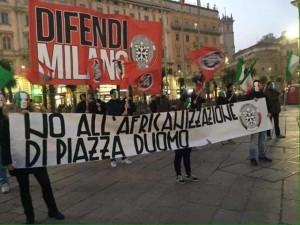 Manifestazione di Casapound contro le palme a Milano.