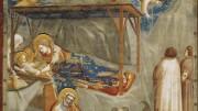 """Giotto natività (particolare). Molto religioso, il grande Giotto battezzò 2 degli 8 figli (4 maschi e 4 femmine) col nome di Francesco. Uno fu pittore, l'altro prese i voti (priore).  Famose le sue """"Storie di San Francesco""""  e le opere dedicate alla figura di Gesù. Maestria, invenzione,poesia si fondono in Giotto, facendone un pittore divino, uno dei massimi pittori della storia. Fu anche architetto. Guadagnò bene, ampliando i poderi della propria famiglia. Il nome Giotto è un vezzeggiativo al quale il suo personaggio fu talmente legato da rendere incerto se non ignoto il suo vero nome."""