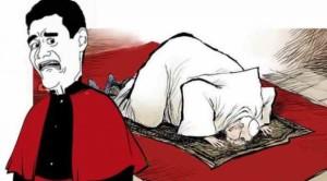 Nella vignetta Monsignor Antonio Livi che ha pubblicamente additato le posizioni e l'atteggiamento di Bergoglio.