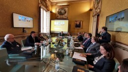 Un momento della conferenza stampa di stamane nella sede centrale palermitana della BPSA a Palazzo Petyx in via Enrico Albanese.