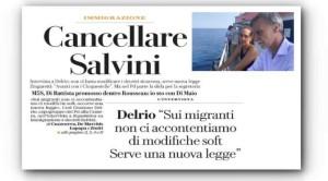 La prima pagina de La Repubblica. Si cera di strncare Salvinie si becca una stroncatura...