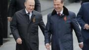 """Putin e il fido Medvedev con cui """"lo Zar""""  forma da sempre un tandem affiatatissimo. Il Capo del governo si è dimesso perché si procedesse meglio alla riforma in programma, ideata da Putin..."""