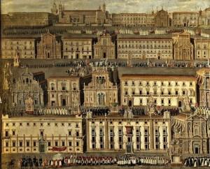 Un famoso dipinto della Palermo che fu: ritrae, sovrapposti su prospettive immaginarie, il percorso della la processione nei pressi della Cattedrale del Palazzo Reale.