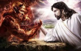 Una colorita rappresentazione: Gesù lotta contro il diavolo. No, il Male non è volontà di Dio.