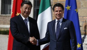 Italian premier Giuseppe Conte (R) shakes hands with Chinese President Xi Jinping prior their meeting at the Villa Madama in Rome, Italy, 23 March 2019. President Xi Jinping is in Italy to sign a memorandum of understanding to make Italy the first Group of Seven leading democracies to join China's ambitious Belt and Road infrastructure project. ANSA/RICCARDO ANTIMIANI