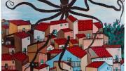 Gaspare Mutolo La piovra sui rioni di   Palermo - Olio su tela. La piovra è l'immagine più corrispondente la realtà della Mafia. Mutolo, mafioso peytito