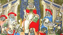 L'immagine di un concistoro di Clemente V: nato Bertrand de Got o Gouth (Villandraut, 1264 – Roquemaure, 20 aprile 1314), è stato il 195º Papa, dal 1305 sino alla morte. È ricordato per aver soppresso l'ordine dei Templari (1307) e per aver trasferito la Santa Sede ad Avignone in Francia. Fu chiamato l'esilio avignonese: un altro momento anomalo della storia della Chiesa cattolica. Il ritorno a Roma è considerato un miracolo di Santa Caterina da Siena che convinse il papa al ritono a Roma: Urbano V , Guillaume de Grimoard, nonstante fosse francese come i precedenti, voluti dal Re di Francia deciso a 'dominare' il papato... L'Esilio durò una settantina d'anni:. 1309 -1377. Successivamente, dal 1410 al 1437 vi fuono anche ben tre 'antipapi'. Anni terribili, quelli di Santa Caterina nel 1300: visse la peste ed eventi sanguinosi in cui rischiò d'essere uccisa (Congiura dei Ciompi). Caterina è copatrona d'Italia e patrona d'Europa.