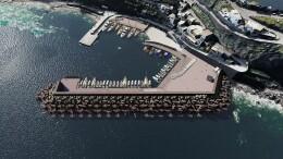 Il render  del nuovo porto di Malfa per la cui realizzazione è stata bandita la gara d'appalto
