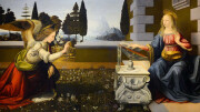 L'Annunciazione di Leonardo Da Vinci. Leonardo non è un cultore del 'bello per il bello' come Tiziano e Raffaello. Le sue  immagini drammatizzano particolarmente la realtà. Ciò caratterizzerà poi i manieristi, a partire dagli allievi di Michelangelo e subito dopo il barocco rappresenterà in pieno la crisi spirituale seguiita alle 'certezze' del Rinascimento. L'annunciazione  a Maria (partorirà da Vergine Immacolata)  è una costante nell'ispirazione pittorica classica, a partire da Giotto....