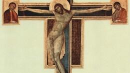 Il Crocefisso dipinto da Cimabue in Santa Croce. Il Mahatma Candi, ripartì da San PIetro dicendosi colpito da una religione tanto grande da aver trasformato l'immagine di un patibiolo nel  suo più dolce segno di fede e di pace.