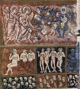 Satana porta in grembo l'anticristo, XIII secolo, isola di Torcello (Venezia), basilica di Santa Maria Assunta. (Autore dell'immagine: Meister von Torcello 001)