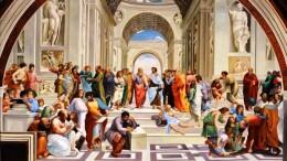 L'affresco di Raffaello è nell'appartamento che fu di di Giulio II: non cessa ancora oggi di stupire e di seminare interrogativi, ricerche, meraviglia. Una posizione di privilegio hanno anche Eraclito e Permenide. Quest'ultimo ispira a Patone l'idea che un Dio perfetto non può che aver creato un mondo perfetto. Non conoscevano la Bibbia né il Vangelo. Tale concezione, però, affascina parte dei cristiani. In realtà Platone e il suo epigono Agostino si  accorsero che tale 'idea' è foriera di enormi danni morali: che ruolo avrebbe l'umanità? La scelta del bene dal male e la conquista del paradiso sarebbero solo una sosrta di gioco col destino? Quella, infatti, 'il ruolo dell'individuo nella lotta contro il male? Tale lotta caratterizza tutta la storia umana. Il male si manifesta,oltre che con l'ignoranza, l'errore e il peccato, con due elementi 'obiettivi': la malattia e la catastrofe. Tutta la storia umana conincide con lo sforzo dell'umanità di contrastare le manifestazioni del Male. Certi concetti della filosofia classica, che ricalca e ispira la dialettica del pensiero umano, sembra più chiara nella mente degli artisti del Medio evo e del Rinascimanto di quanto non lo sia in quela di molti laureati in filosofia di oggi....
