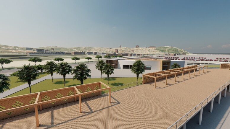Una vista dall'alto della zona servizi. Anche i tetti verranno utilizati come terrazzi. Potranno disporre di tavolini in plein air relativi a ristoranti e bar, protetti dal sole tramite 'pergolati' in legno relaizzati in cotruzione.