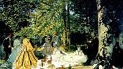 La famosa 'Colazione sull'erba' di Claude Monet. L'abitudini alle colazioni all'aperto si perde nell'antichità, ma  la concezione moderna  si afferma all'alba dell'era industriale. Per tutti sono solitamente momenti di notevole gioia.
