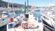 Uno scorcio del porto di Capo d'Orlando visto dalla banchina di riva. In primo piano la titolata Sagola, barca vincitrice di tante regate offshore.