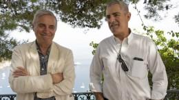 Taurmina, belvedere del parco pubblico: Massimo Ghini divenuto un divo amato dal pubblico e Luca Manfredi, regista. Questi ha consegnato all'attore romanoil premio Manfredi 2021 nel centenariuo della nascita del grande comico ciociaro.