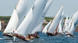 Vele latine in azione mentre stringono il vento pochi minuti dopo la partenza...