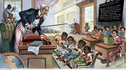 """Vignetta satirica del 1899 che raffigura gli Stati Uniti come lo Zio Sam, severo maestro che bacchetta gli """"alunni indisciplinati"""" Cuba, Porto Rico, Hawaii e Filippine. Sullo sfondo si può notare un nativo americano in disparte con un libro sottosopra e un afroamericano che pulisce i vetri della scuola. Tutto ciò non è certo cambiato con Biden. Anzi..."""