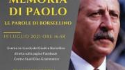 """La locandina della manifestazione (particolare). """"In memoria di Paolo 2021"""" Le parole di Borsellino"""