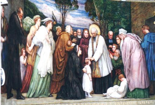 """Il santo francese ritratto fra i suoi fedeli. Ars era uno dei 450 municipi che formavano il dipartimento dell'Ain ed una delle 300 parrocchie della diocesi di Belley a metà del secolo XIX e, tuttavia, molto presto, grazie al suo santo Curato, acquisì notorietà in Francia ed oltre le sue frontiere. La parrocchia di Ars visse l'epoca di ricristinizazzione del dopo Rivoluzione Francese, ma cominciò anche a sperimentare progressivamente la scristianizzazione che caratterizzò nel suo insieme il secolo XIX. Il santo: """"fare il parroco è  stato difficile anche per me""""."""
